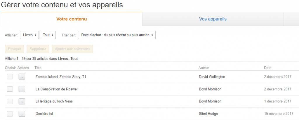 liste des ebooks kindle achetés