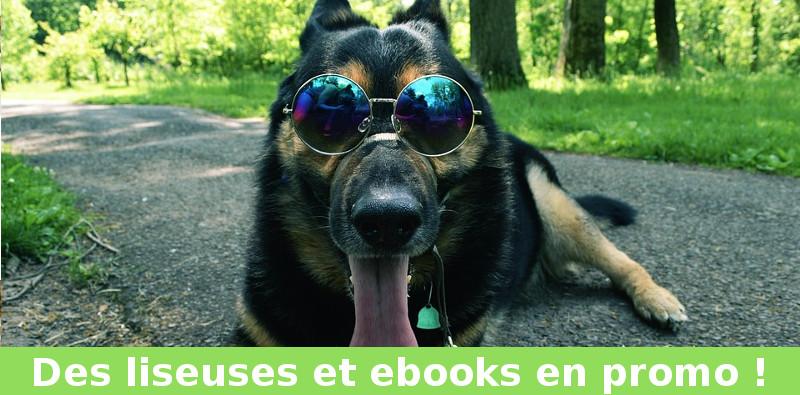 promo liseuses kobo et kindle + chien sur la photo avec des lunettes