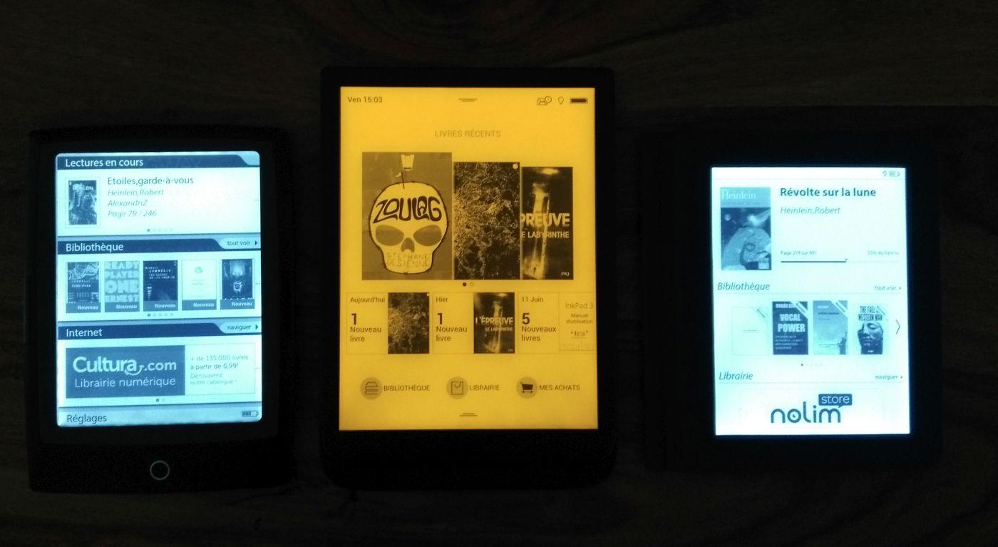 Cybook Odyssey Frontlight HD, Inkpad 3, Bookeen Saga : éclairage activé au maximum avec SmartLight au maximum sur InkPad 3