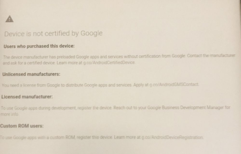 Android device not certified google play