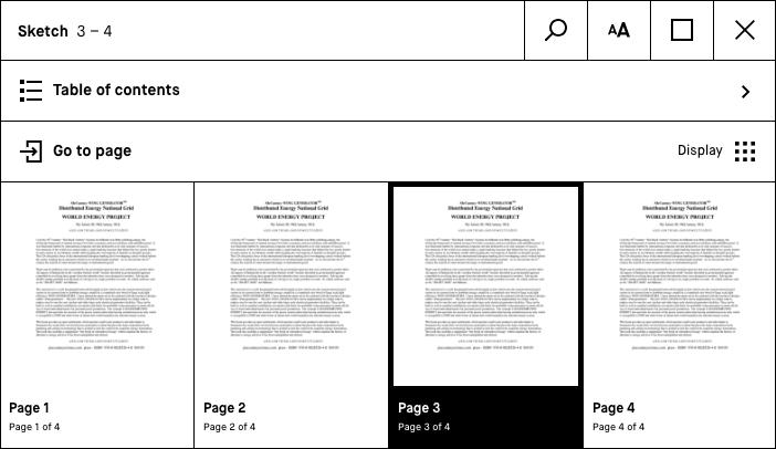 table des matières sur liseuse ReMarkable