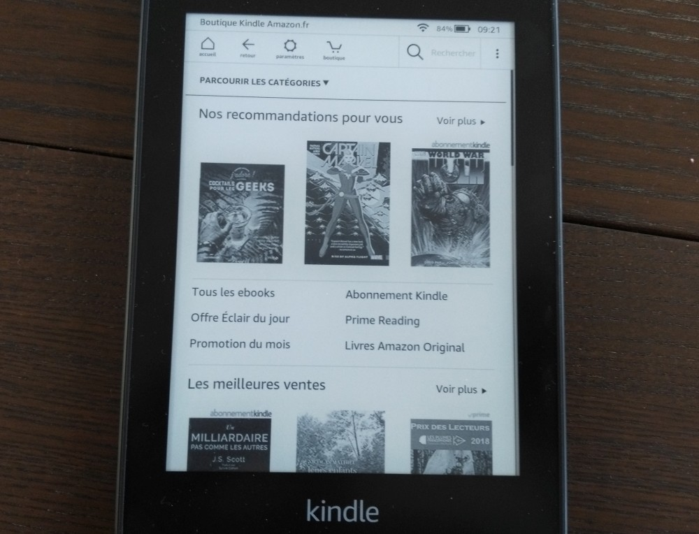 Test Kindle Paperwhite : librairie