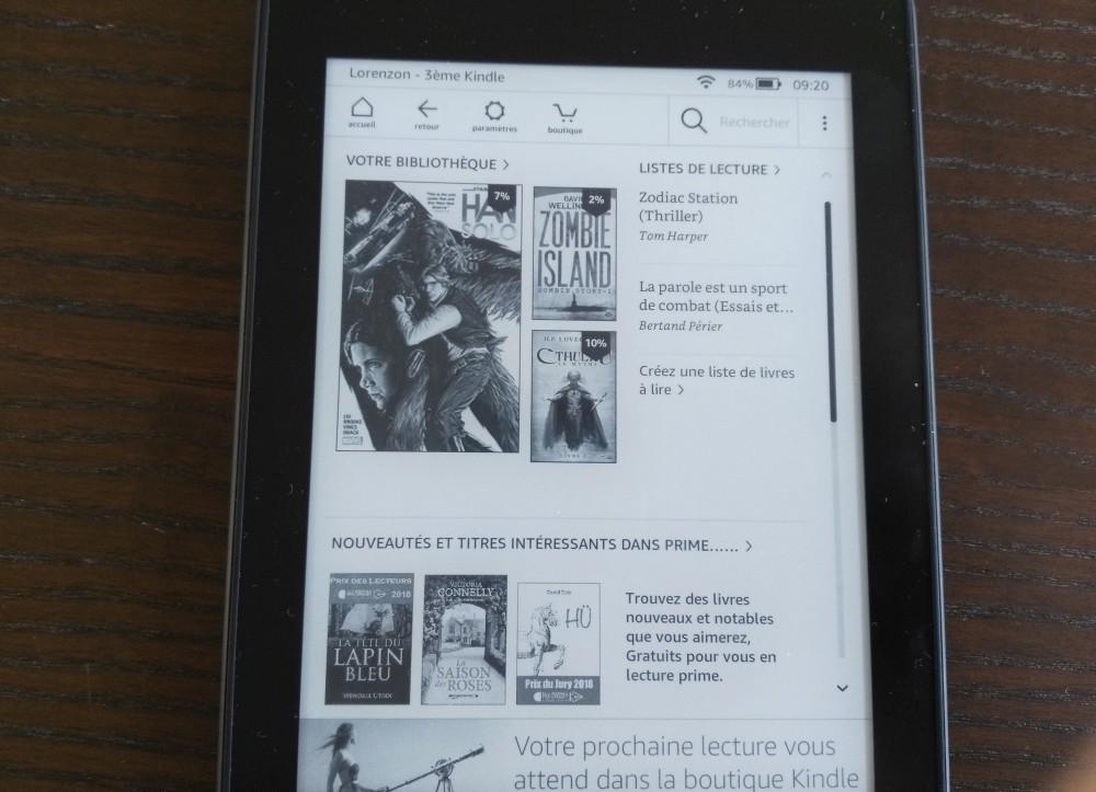 Test Kindle Paperwhite : écran accueil de la liseuse