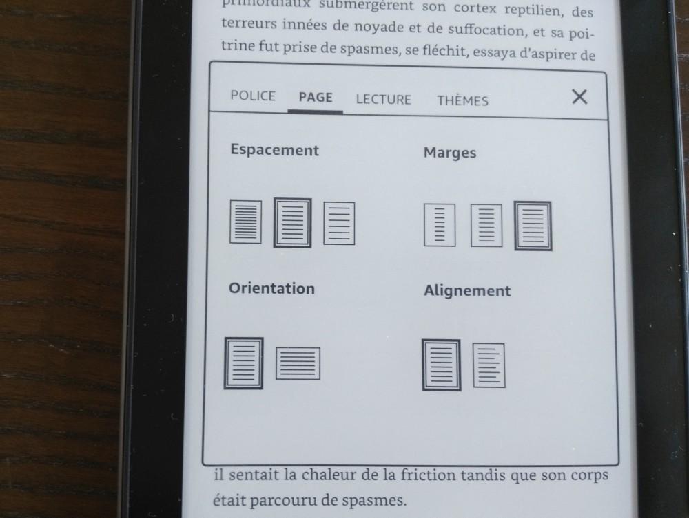 Test Kindle Paperwhite : réglage des marges et de la page sur la liseuse