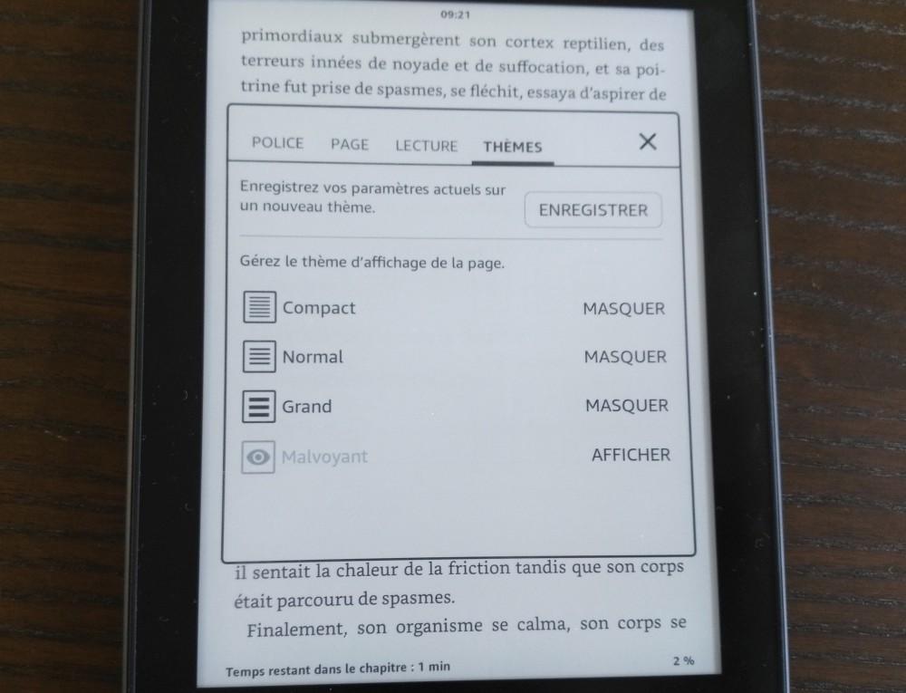 Test Kindle Paperwhite : sauvegarde des réglages sous forme de thèmes