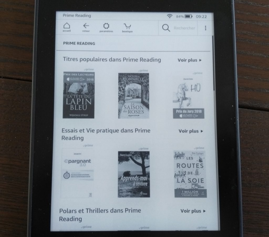 Test Kindle Paperwhite : librairie Prime Reading