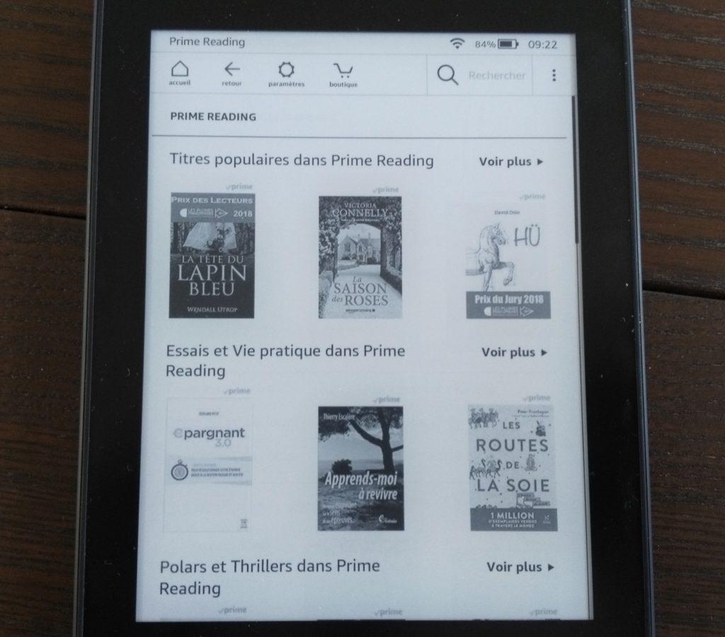 Test Kindle Paperwhite : librairie Prime Reading