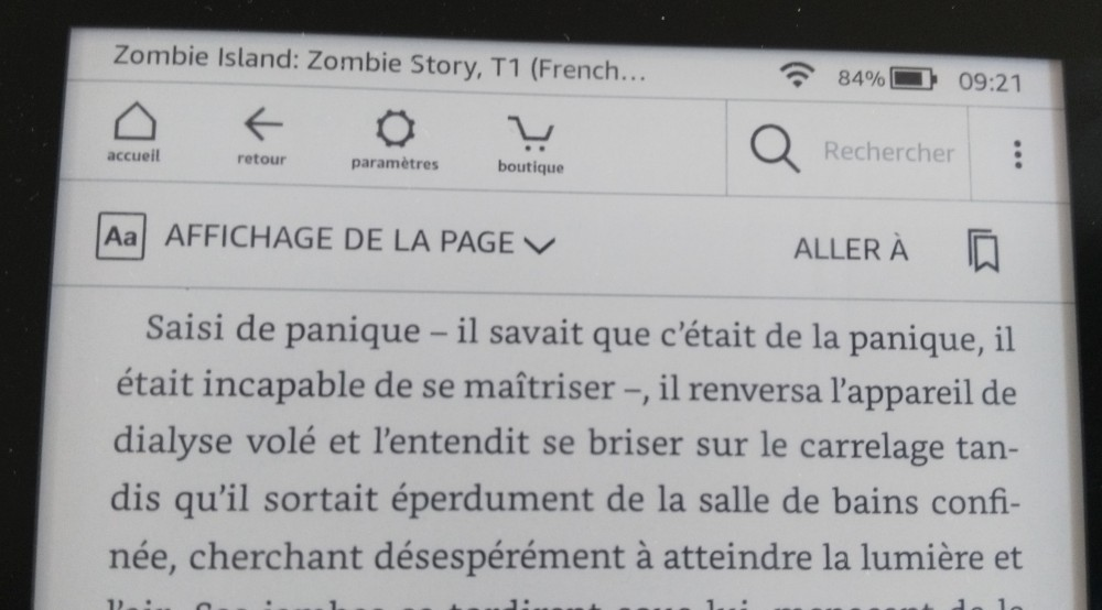 Test Kindle Paperwhite : accès aux options de la liseuse