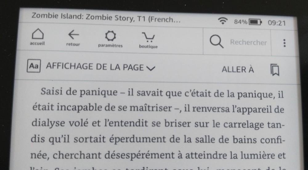 Test Kindle Paperwhite : accès aux options de la liseuse
