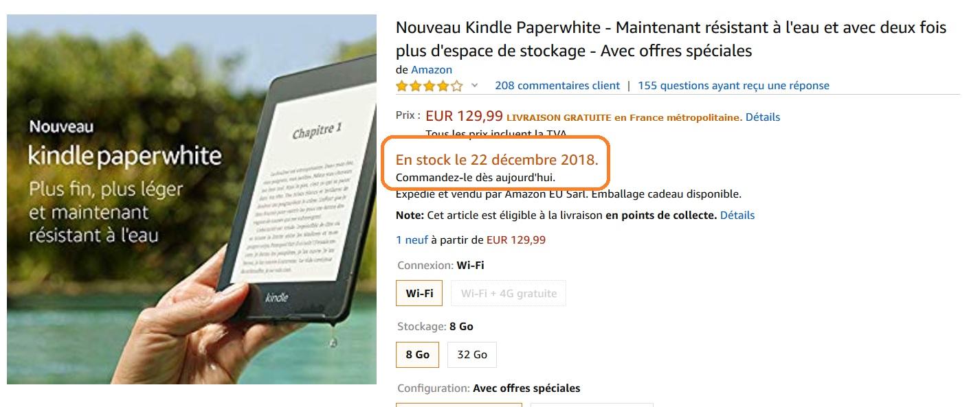 Rupture de stock Kindle Paperwhite