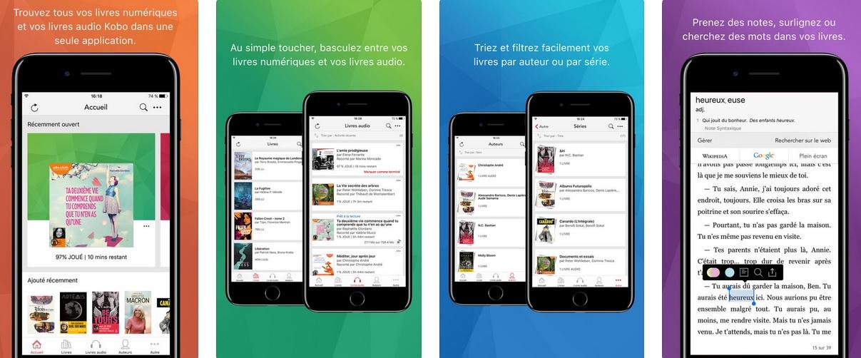 Application Kobo Books pour lire ebooks Kobo sur tablette