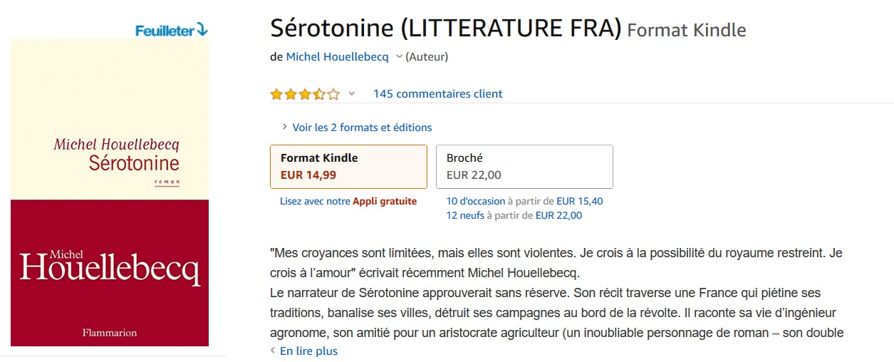 Sérotonine Amazon Kindle Houellebecq