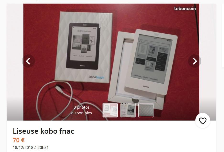 Une Kobo Touch d'occasion un peu chère