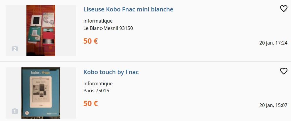 liseuse kobo à partir de 50 euros