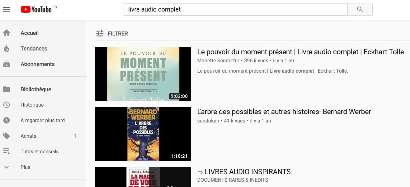 On trouve de nombreux livres audio sur Youtube