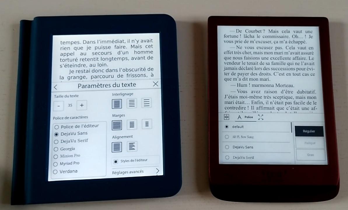 comparaison liseuses Touch lux 4 et Bookeen Saga