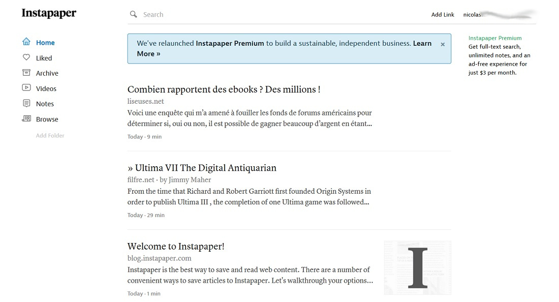 L'interface simple du service Instapaper