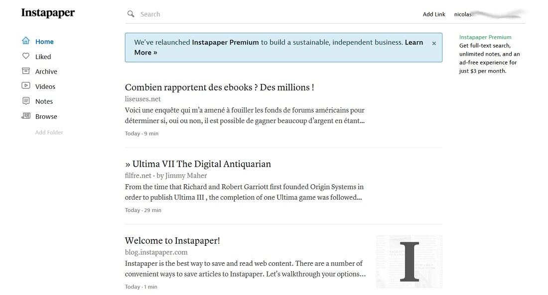 J'ai sauvegardé des articles à lire plus tard dans Instapaper