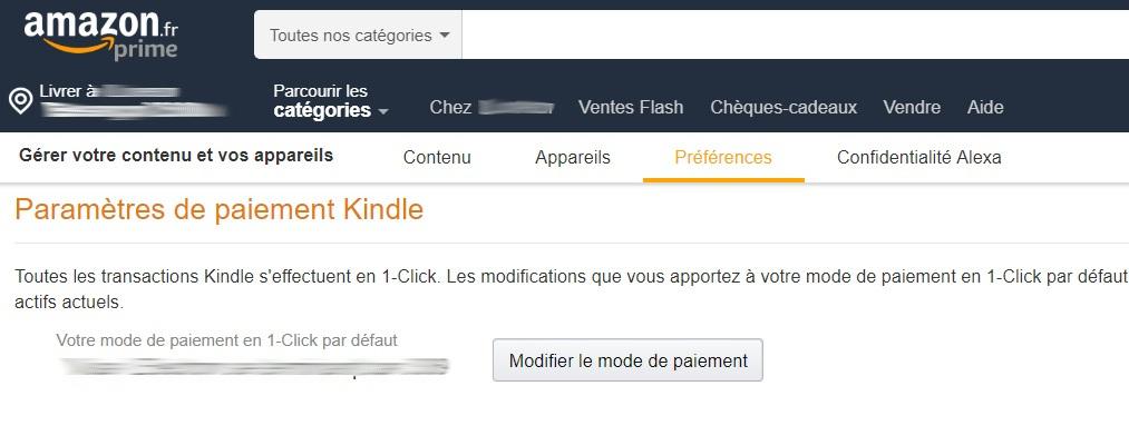 Préférences des appareils et contenus Amazon / Kindle