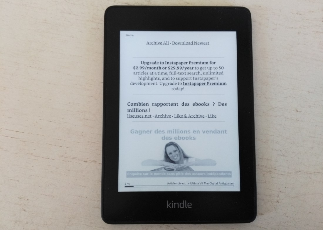 Un article du site à lire sur liseuse Kindle Paperwhite