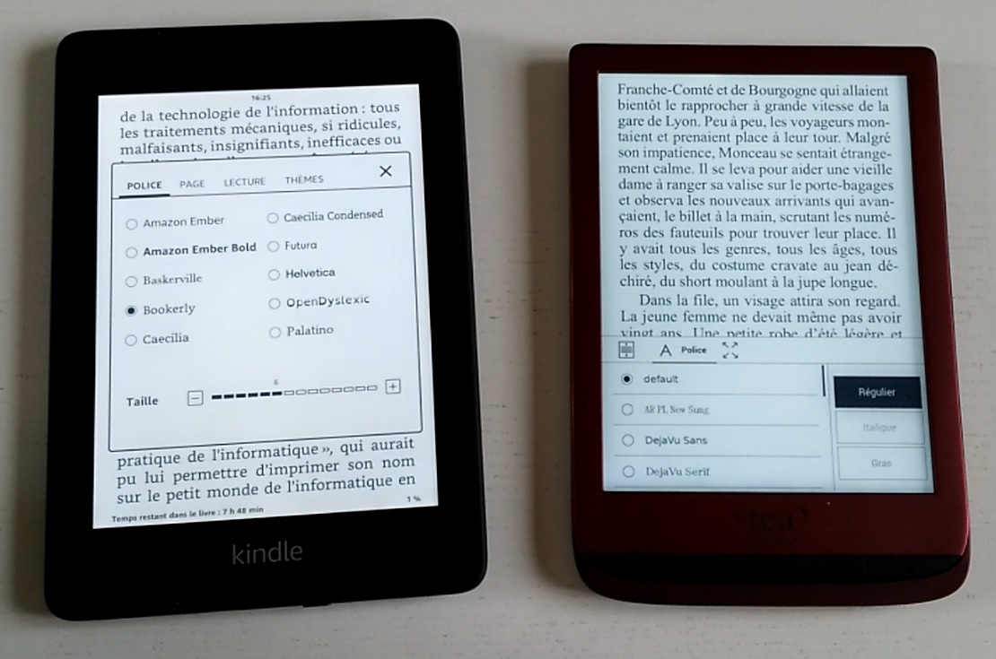liseuse kindle paperwhite et touch lux 4 comparatif
