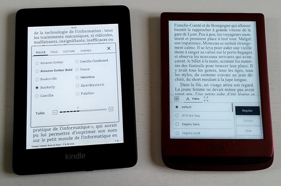 liseuse kindle paperwhite et touch lux 4 comparatif