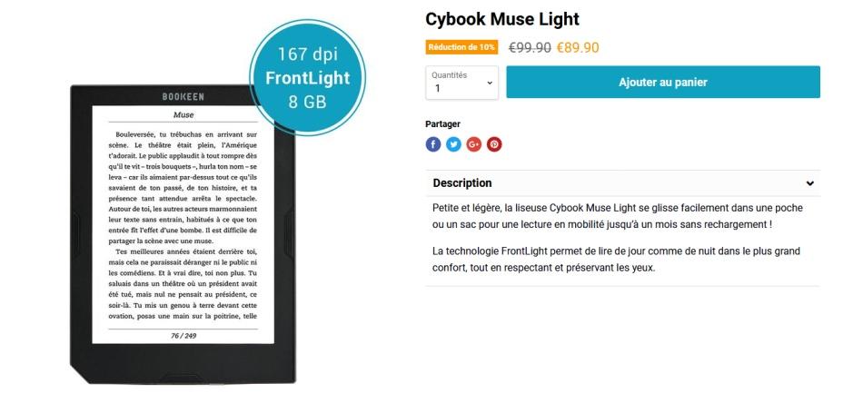 Cybook Muse Light : une bonne liseuse française et pas chère