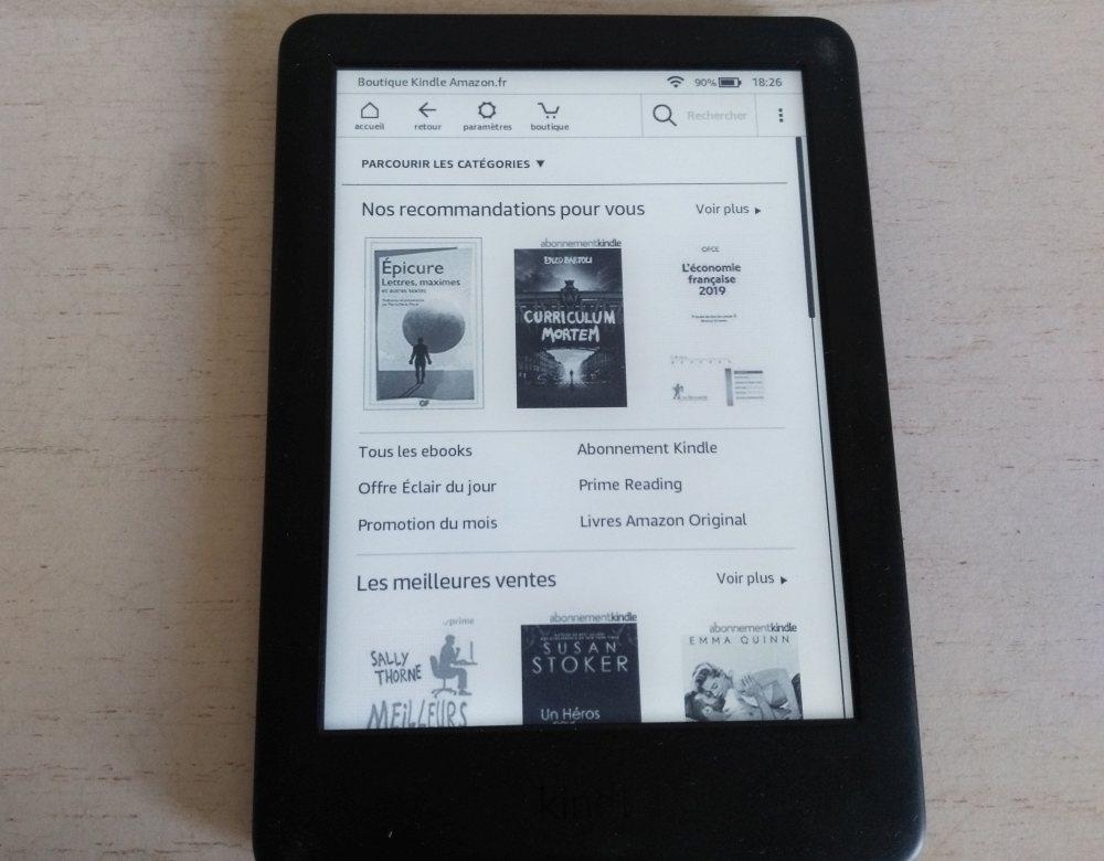 boutique sur la liseuse Kindle