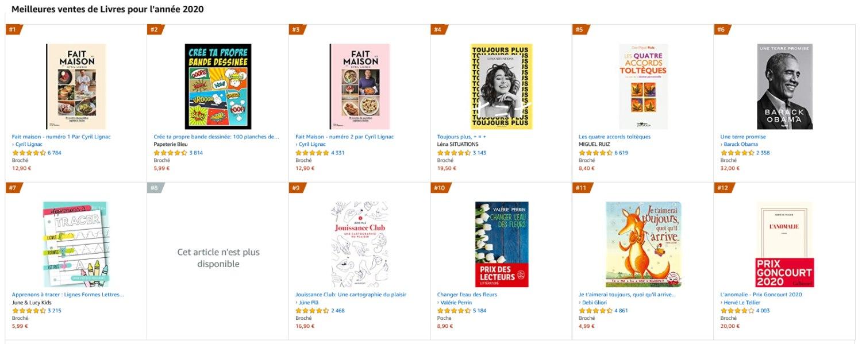 meilleures ventes de livres sur amazon pour 2020