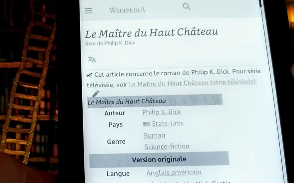 page web sur liseuse Kindle