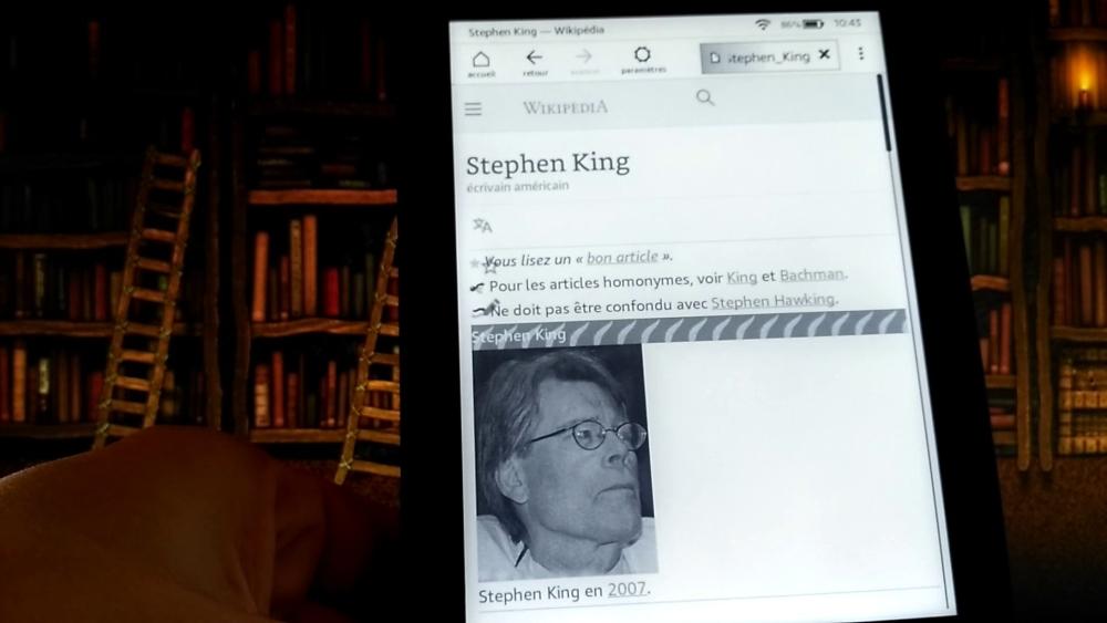 navigateur Internet sur liseuse Kindle