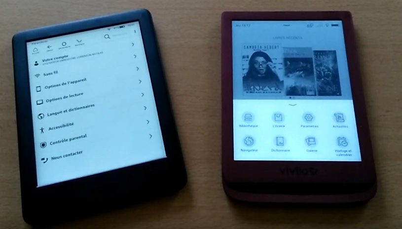 Comparaison liseuses Kindle et Vivlio Touch Lux 4 - Fonctions