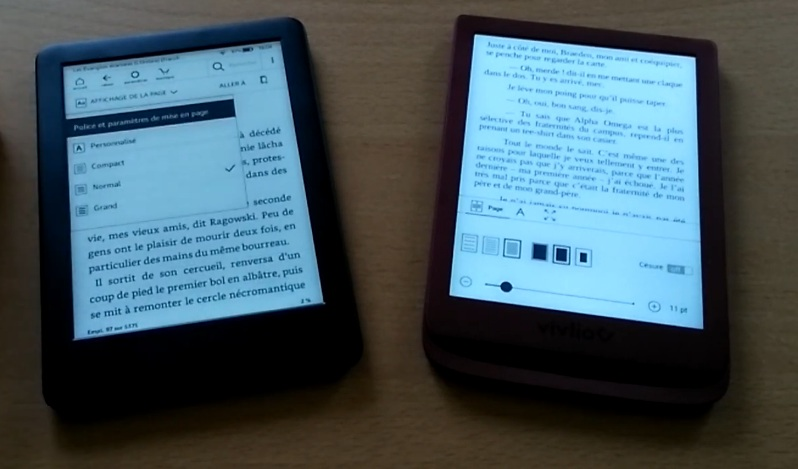 Comparaison liseuses Kindle et Vivlio Touch Lux 4