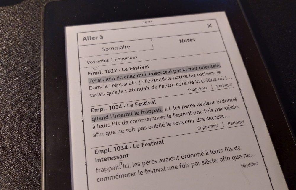 aller aux notes sur Kindle