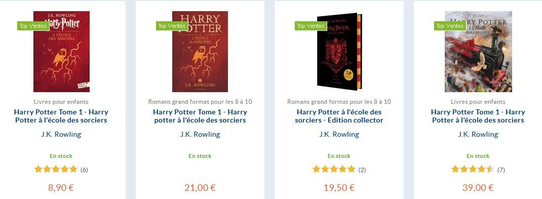 édition de Harry Potter format papier