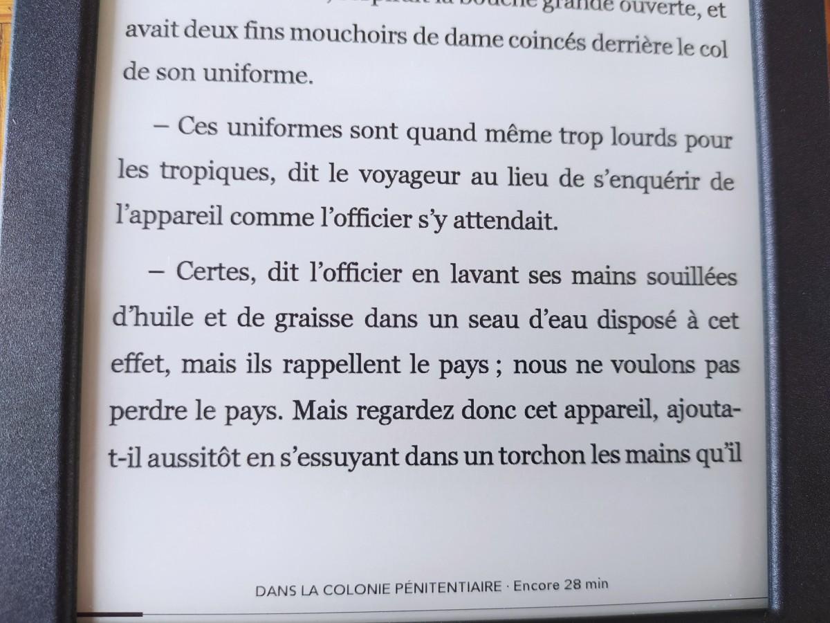 liseuse Kobo Nia affichage texte