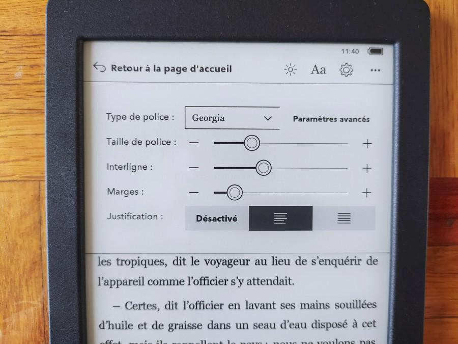 liseuse kobo Nia : les polices de caractères