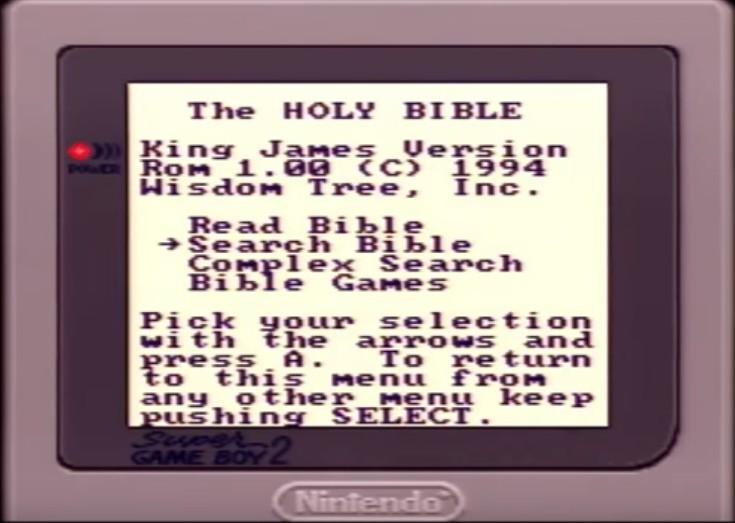 écran de sélection jeu king james sur Game Boy