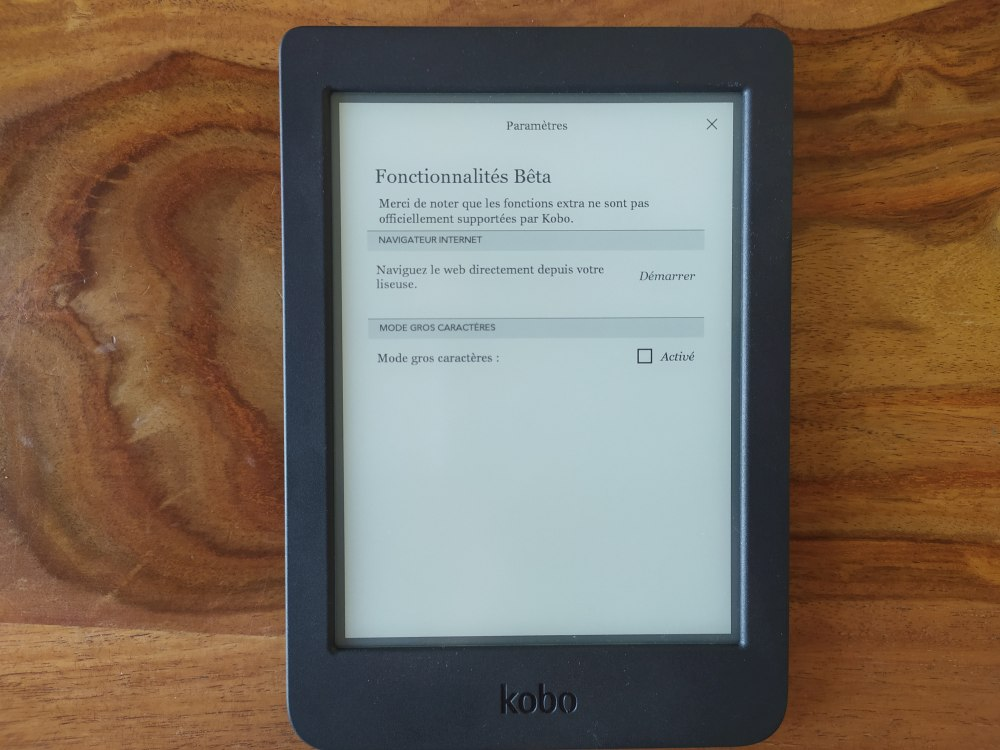 fonctionnalités Beta Kobo
