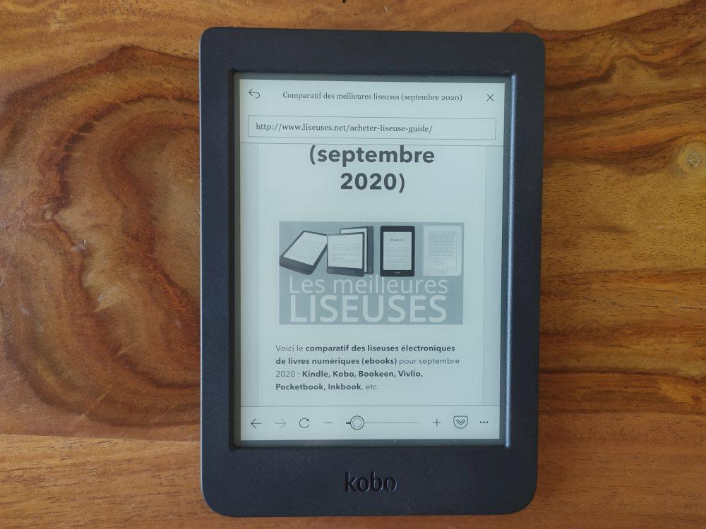 naviger sur le web avec une liseuse Kobo