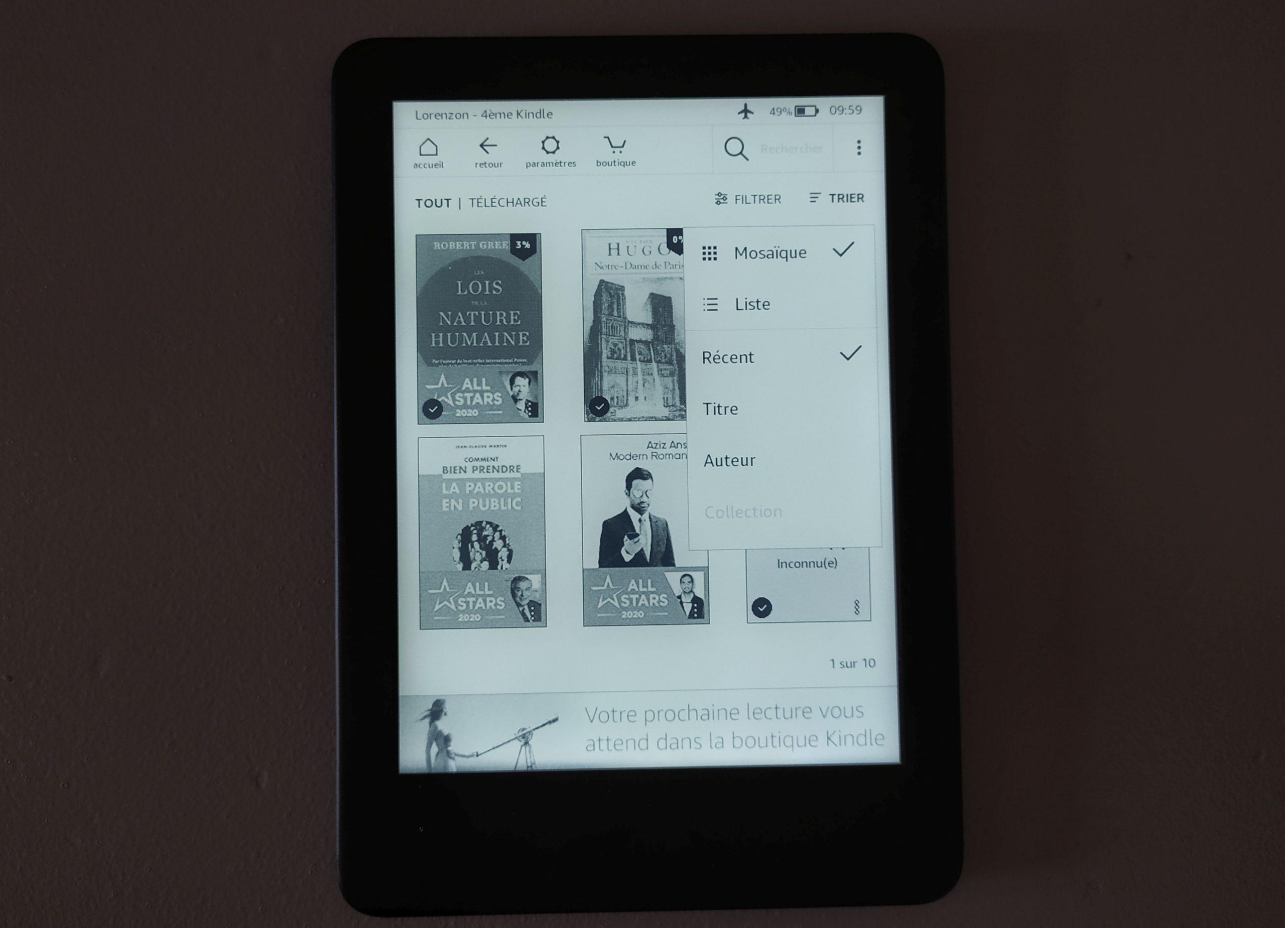bibliothèque ebook liseuse kindle