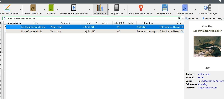 série / collection d'ebooks dans Calibre