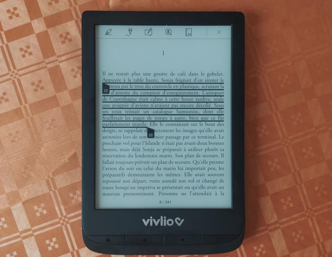 sélection texte note liseuse vivlio