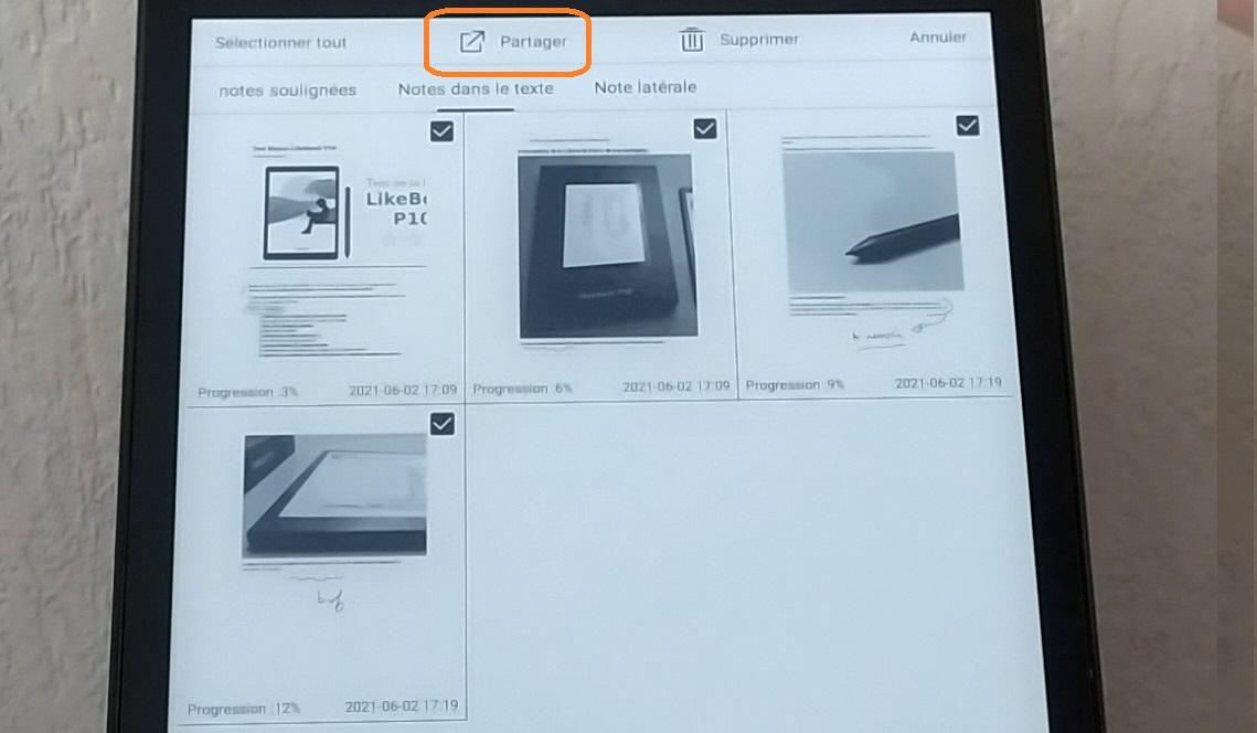 export notes PDF EPUB liseuse likebook p10