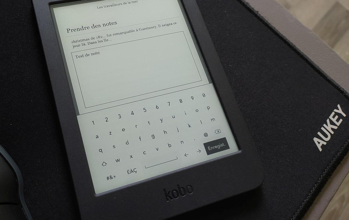 annotation texte sur une liseuse