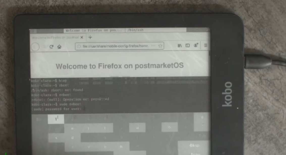 postmarketos et firefox sur kobo clara hd