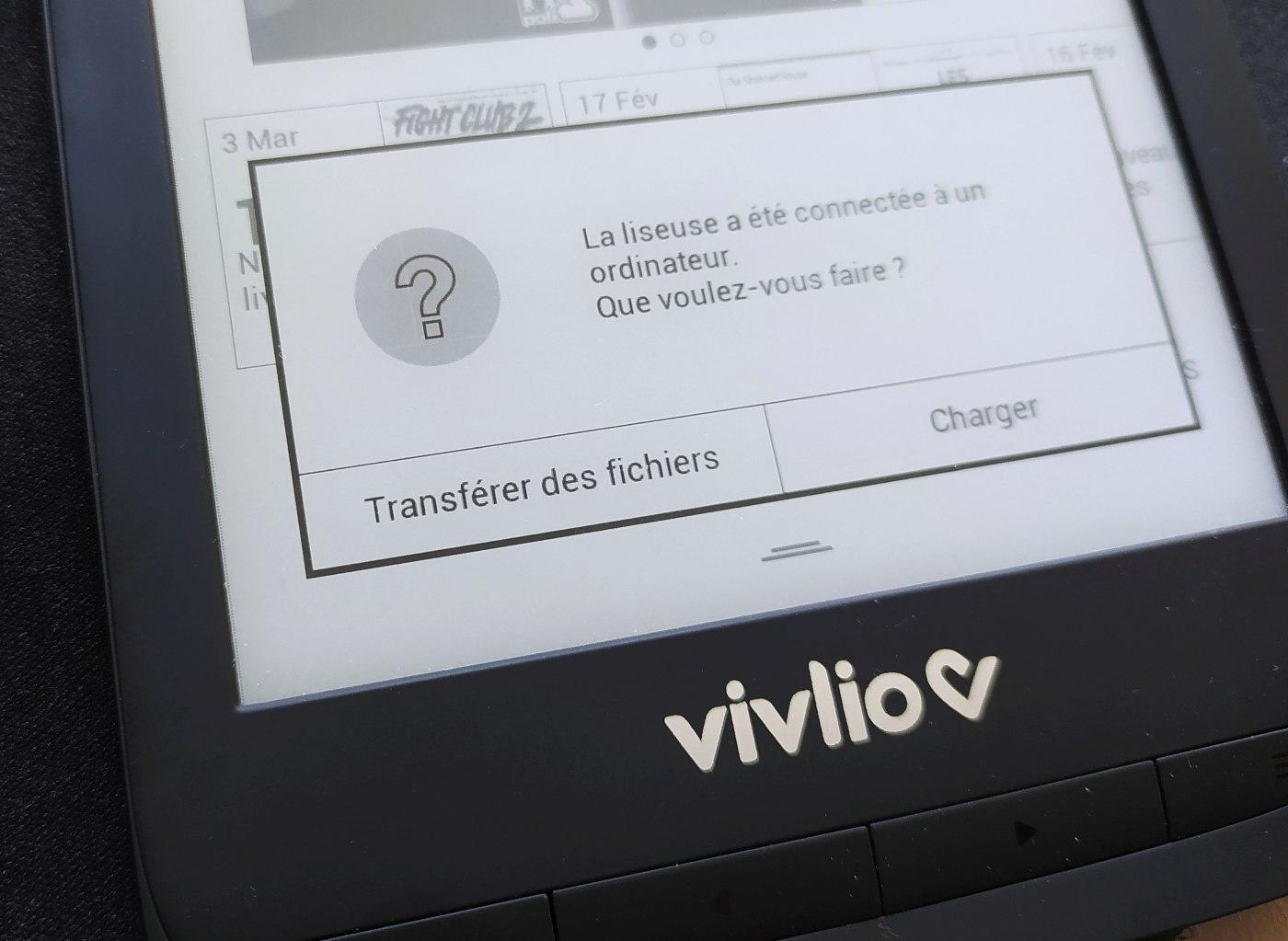 transfert des fichiers sur liseuse vivlio