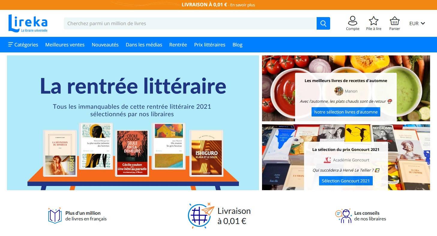 lireka libraire français en ligne
