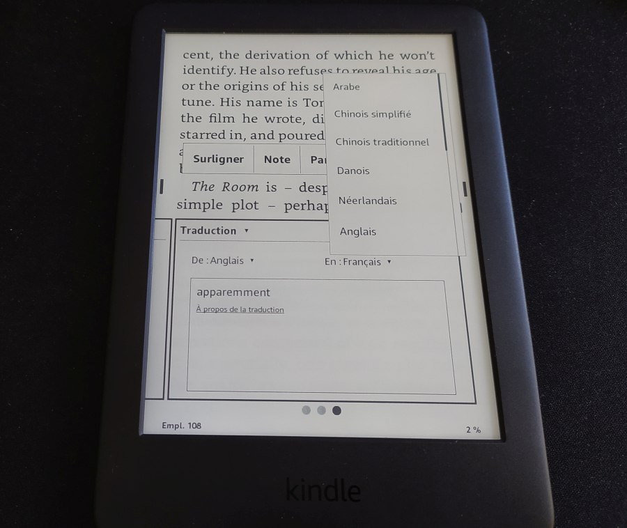 traduction dictionnaire liseuse kindle, kindle paperwhite